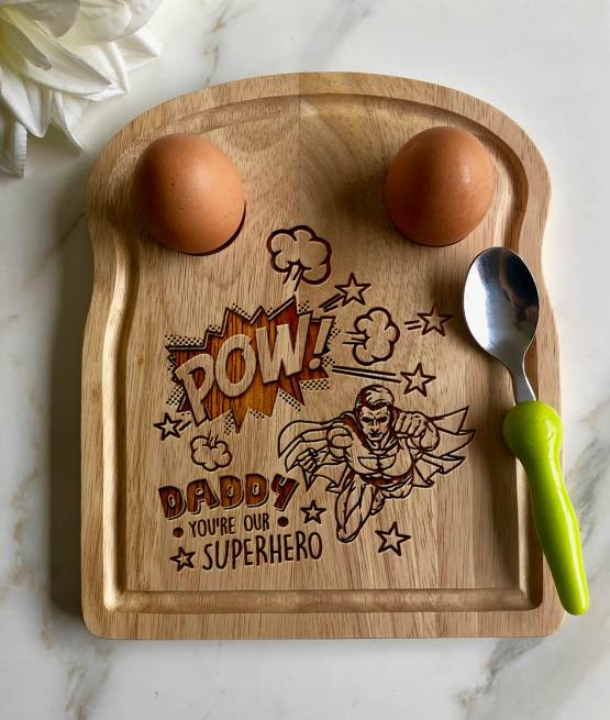 Pow Super Hero Daddy Apollo Egg Toast Board Mockup - Daddy Your Our Superhero - Egg Breakfast Board