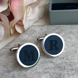 Blue Cufflinks - Personalised Initail Cufflinks Blue Leather 3rd Wedding Anniversary Gift