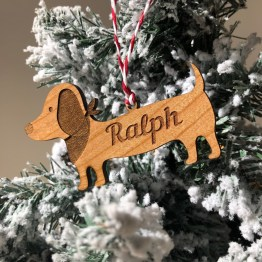 Personalised Name Dachshund Sausage Dog Christmas Decoration Wood Tree Gift