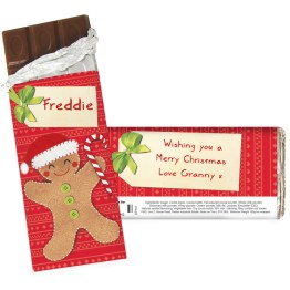 Personalise this Felt Stitch Gingerbread Man Chocolate Bar with a name