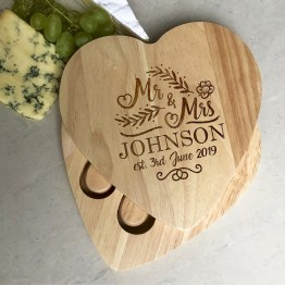 Heart Mr Mrs Name Date Apollo Round Cheese Board - Personalised Mr & Mrs Wedding Name & Date Heart Cheese Board