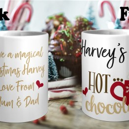 Personalised Christmas Hot Chocolate Front Back Mug Durham Printing - Personalised Hot Chocolate Mug