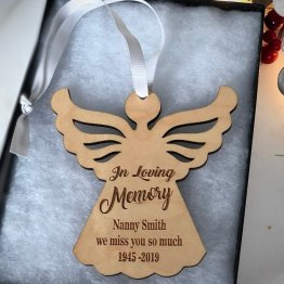 Personalised Name and Date Angel Wooden Christmas Decoration Wood Tree Gift Box - Personalised Angel Wooden Christmas Decoration Wood Tree Gift