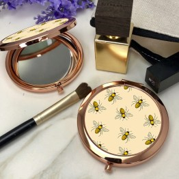 Bees BR RG CM1 Round Rose Gold Compact Mirror - Bees Rose Gold Compact Mirror
