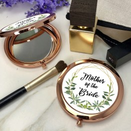Mother of the bride Round Rose Gold Compact Mirror - Mother of the bride Rose Gold Compact Mirror