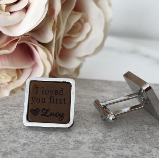 Father of the bride cufflink front and side view - Personalised Father of the Bride Square Cufflinks