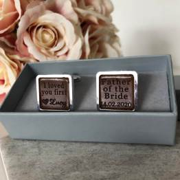 Father of the bride cufflink front view on box - Personalised Father of the Bride Square Cufflinks