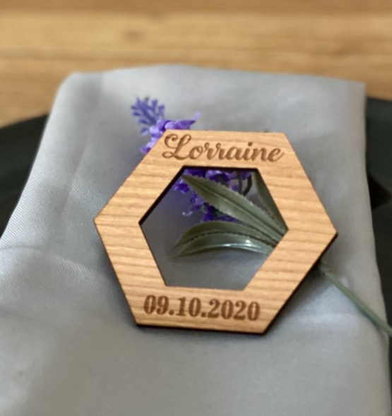 Napkin Hexagon Ring with date - Personalised Hexagon Napkin Ring