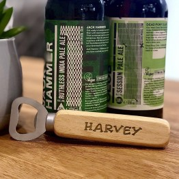Personalised wooden handle bottle opener Ideal individual gift for any occasion including birthdays, Christmas, wedding gifts etc