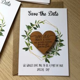 Personalised Wooden Save the Date Magnets with Cards For your Wedding Announcement!