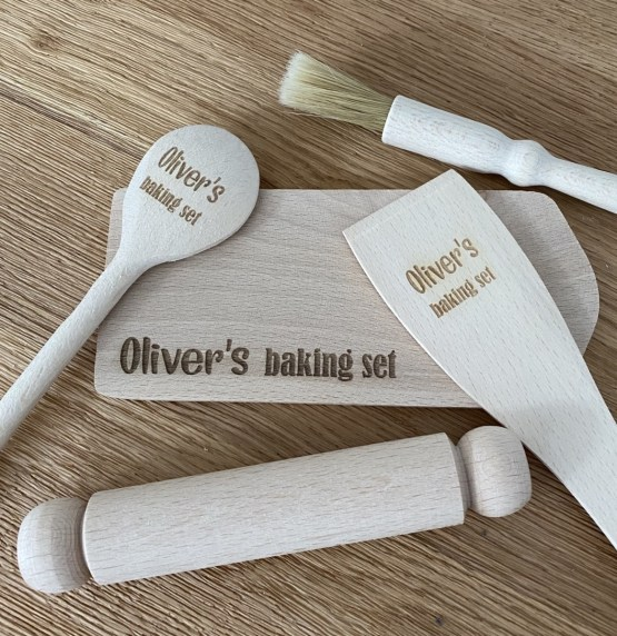 Boys Baking wooden spoon set - Personalised Children's Baking Utensils Set