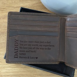 Personalised Word Daddy Wallet - Personalised Leather Brown Wallet, RFID Protected Anniversary Wedding Gift