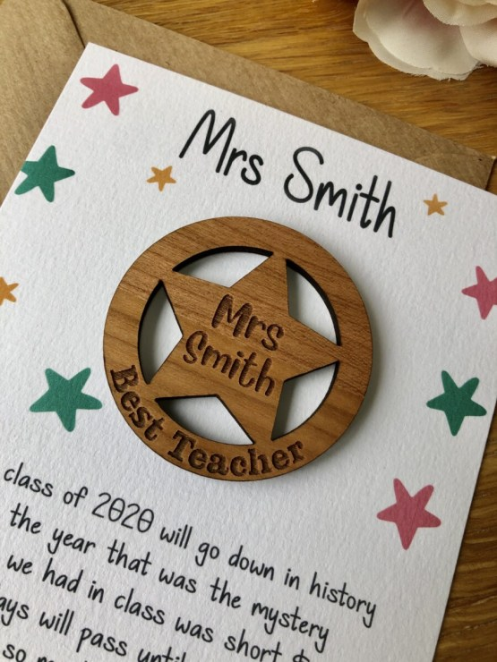 IMG 2246 - Thank you teacher card with Wooden Star