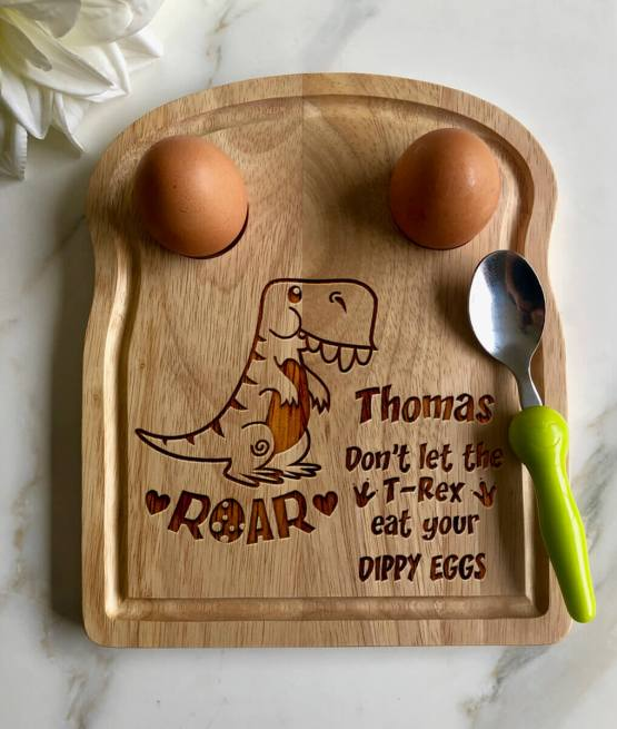 Baby T Rex Apollo Egg Toast Board - Personalised Name Dinosaur Egg Breakfast Board