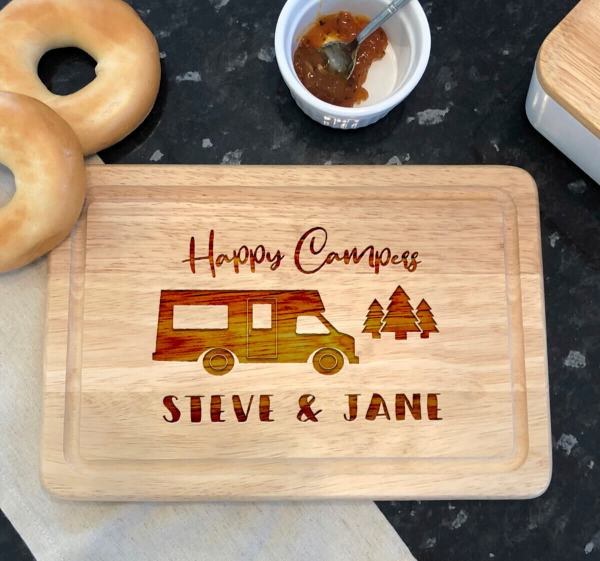 Personalised Happy Camperss Motor Home Names Apollo Rectangle Chopping Board