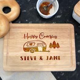 Personalised Happy Camperss Names Apollo Rectangle Chopping Board Mockup - Personalised Happy Camper Rectangle Chopping Board Gift
