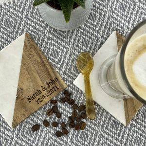 A lovely and charming personalised white marble and wood diagonal coaster