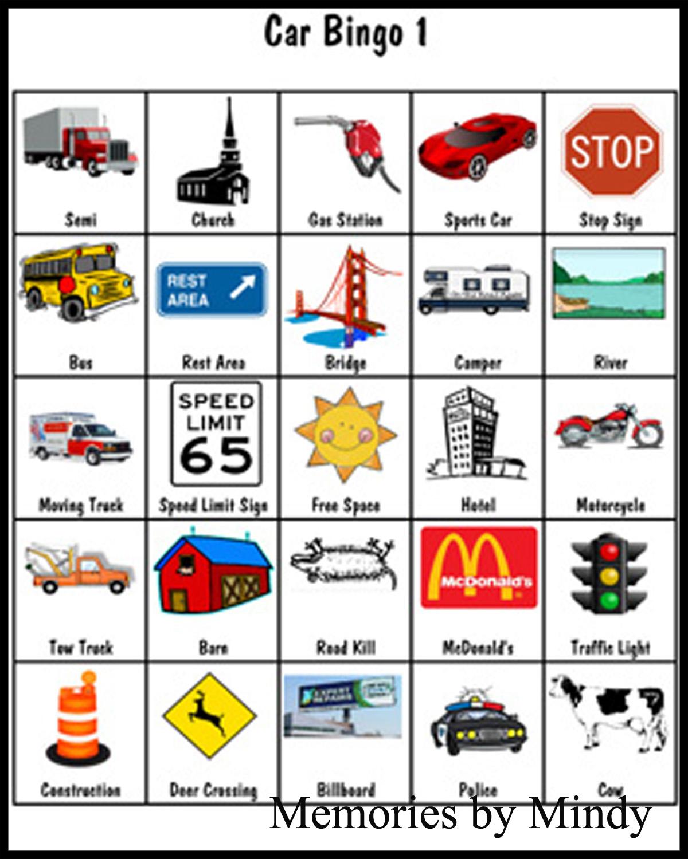 Car Bingo Memories By Mindy