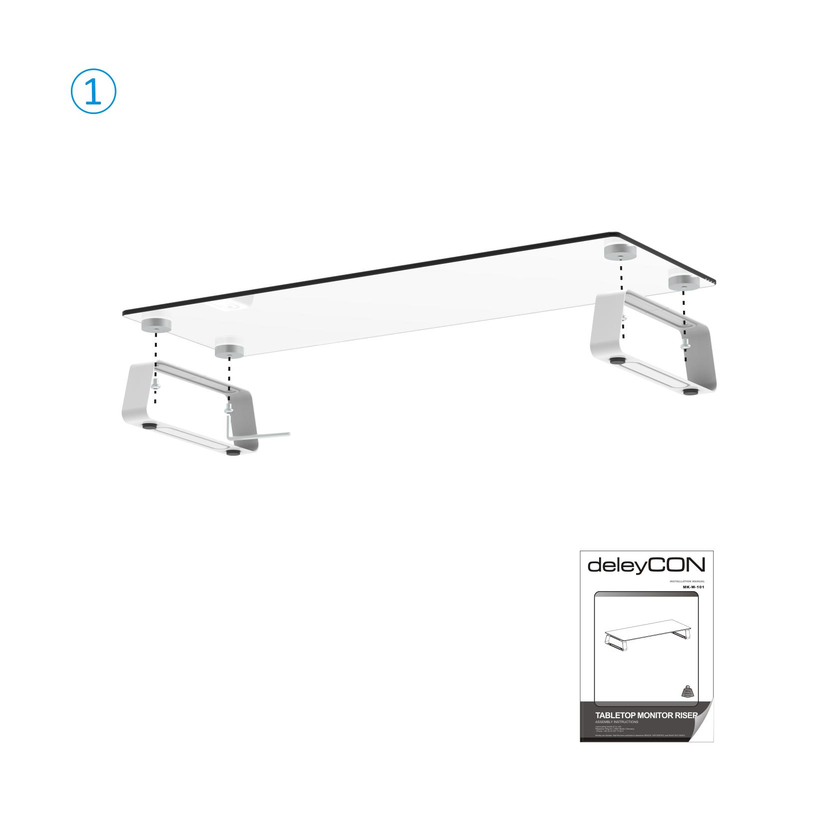 Deleycon Monitor Stander Ablage Glas Tisch Bildschirm