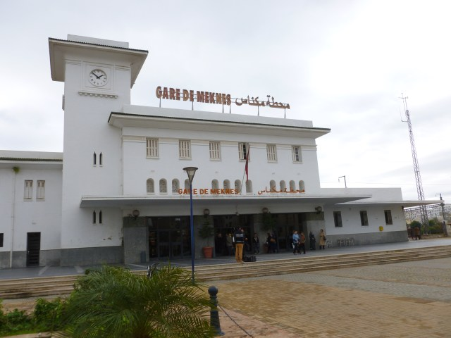 Front of the Gare de Meknes (Meknes train station) as seen from the street arrival area.  Tickets are purchased inside.