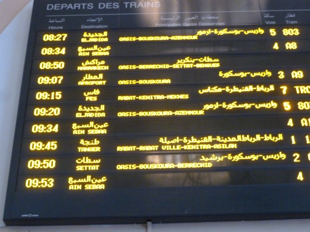 Train schedule in Gare de Casa Voyageurs