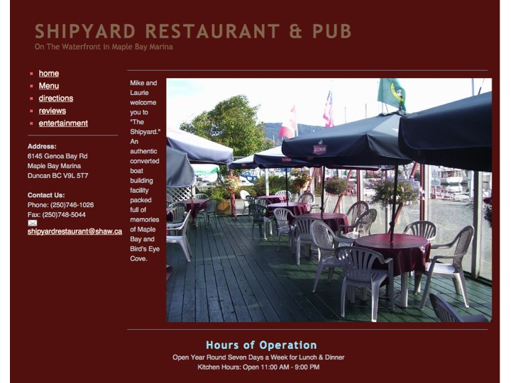 Click on the picture of the Shipyard webpage to see the website, menu, etc.