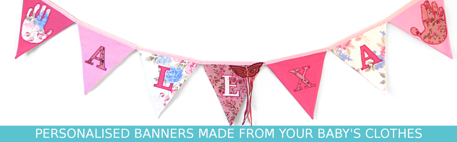 Personalised banner made from your child's upcycled baby clothes