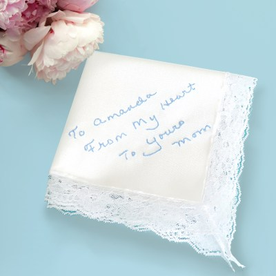 Something blue for bride custom wedding handkerchief with mothers handwriting