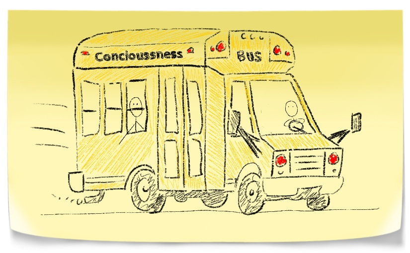 School bus with the name concioussness bus.
