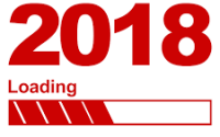 2018 in red with loading bar beneath