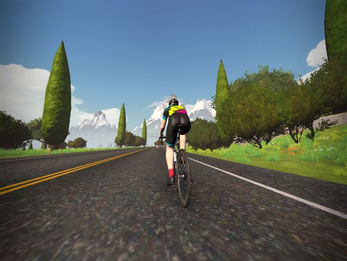 Workout simulator screen capture of bicyclist on a mountain road