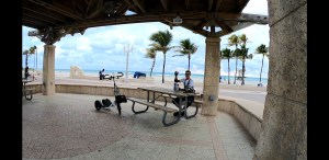 A panoramic photo of a white Me-Mover with rider Tom Case taking a break under a canopy with an oceanfront trail behind him. Palm trees, sand, and the ocean are in the background against a cloudy sky.