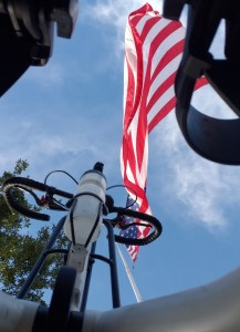 Looking from the base of a white Me-Mover up towards a tree, an American Flag, and the blue sky