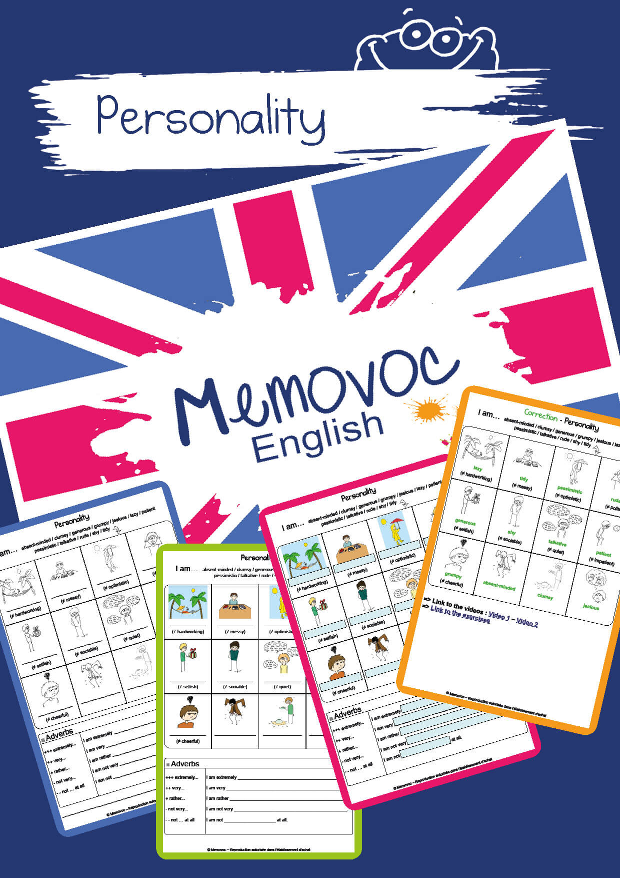 Personality Vocabulary Worksheets Memovoc