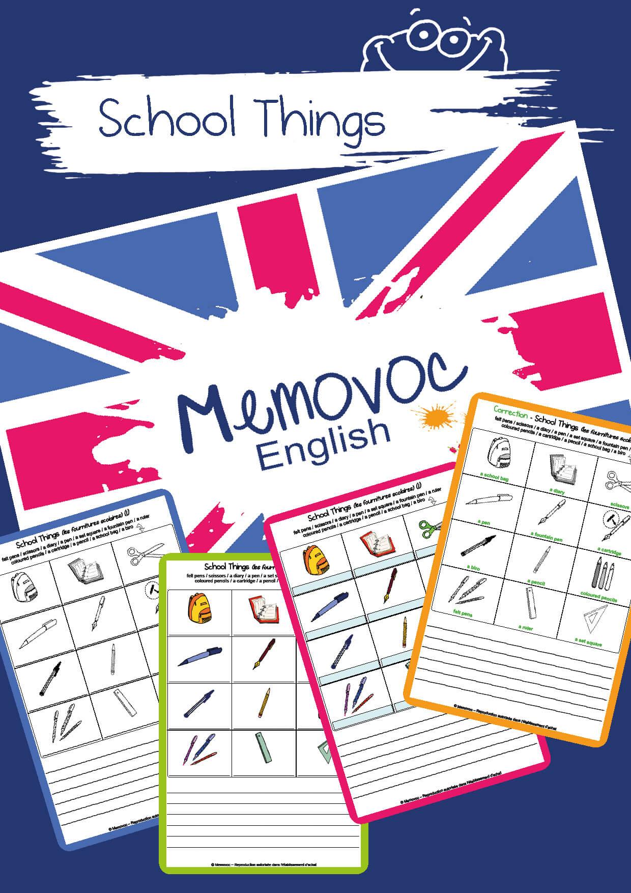 School Things Vocabulary Worksheets Memovoc