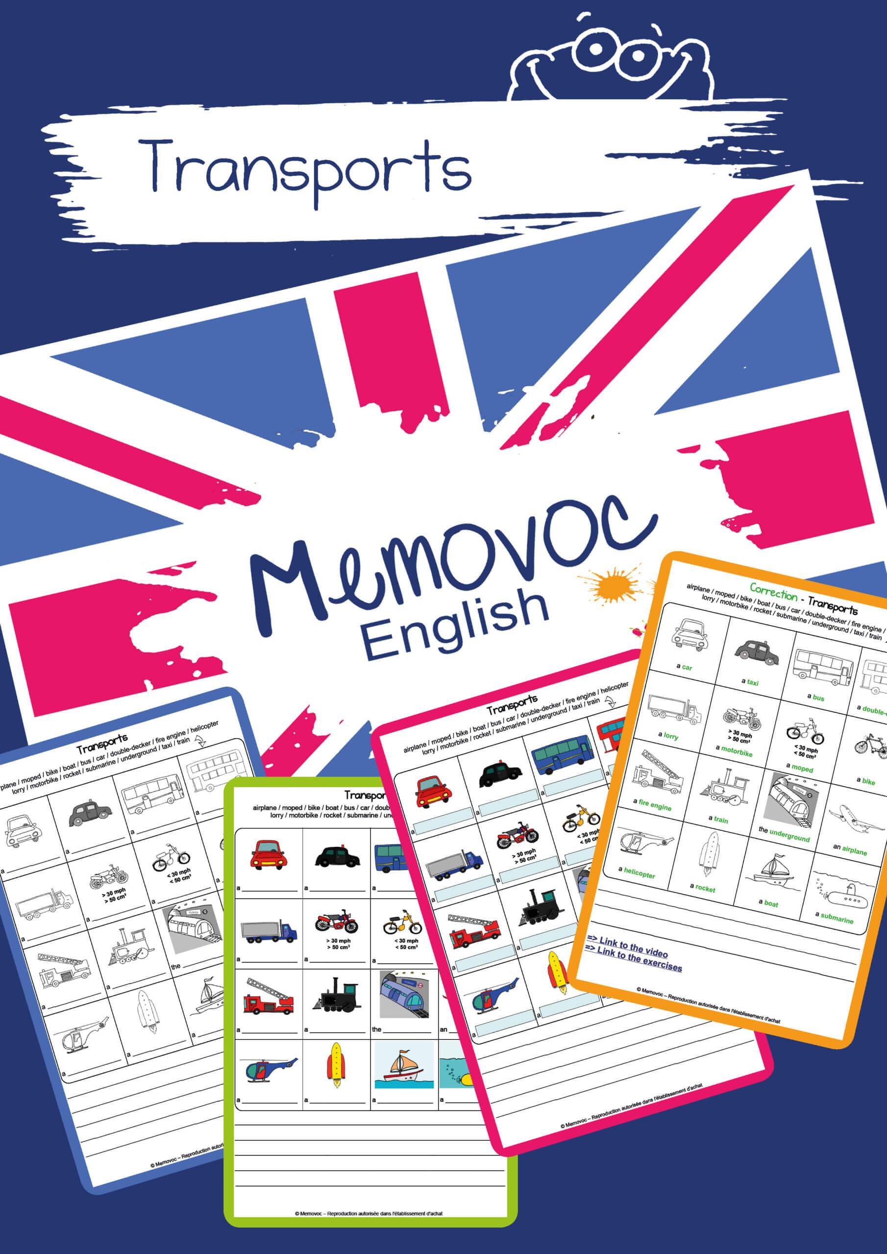 Transports Vocabulary Worksheets Memovoc