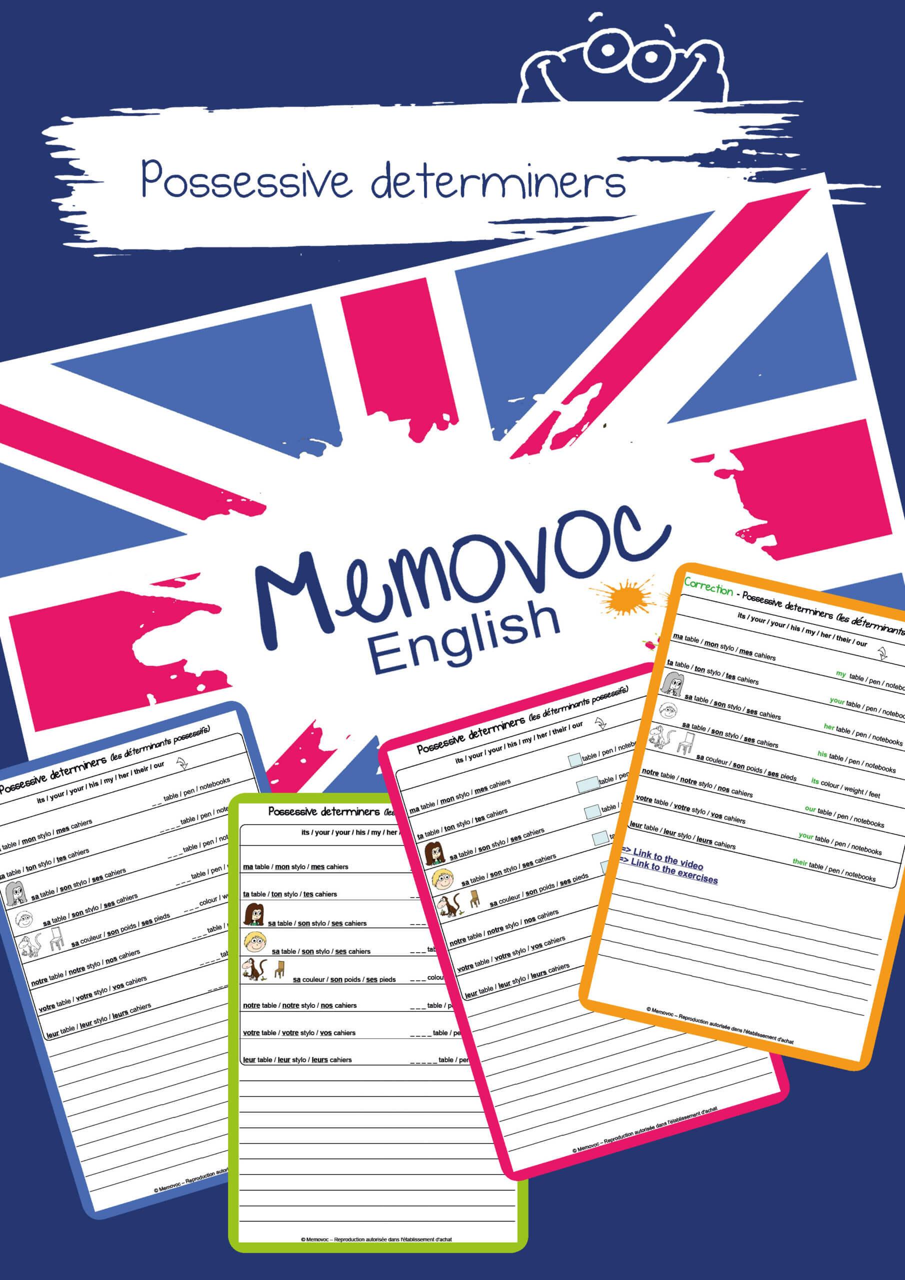 Possessive Determiners Vocabulary Worksheets Memovoc