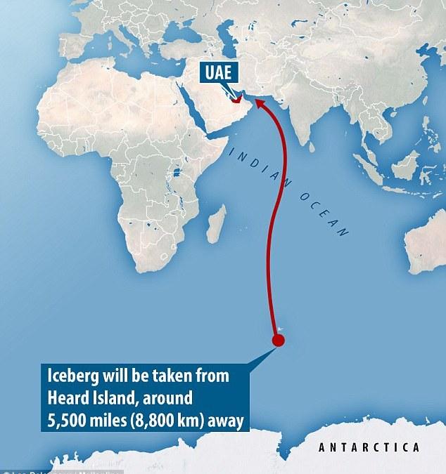 An Antarctic iceberg into the Arab-Persian Gulf