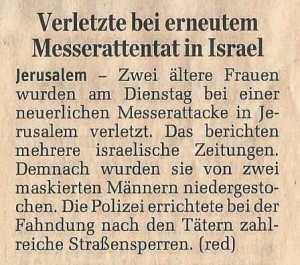 Verletzte bei erneutem Messerattentat in Israel - Standard - 11Mai16