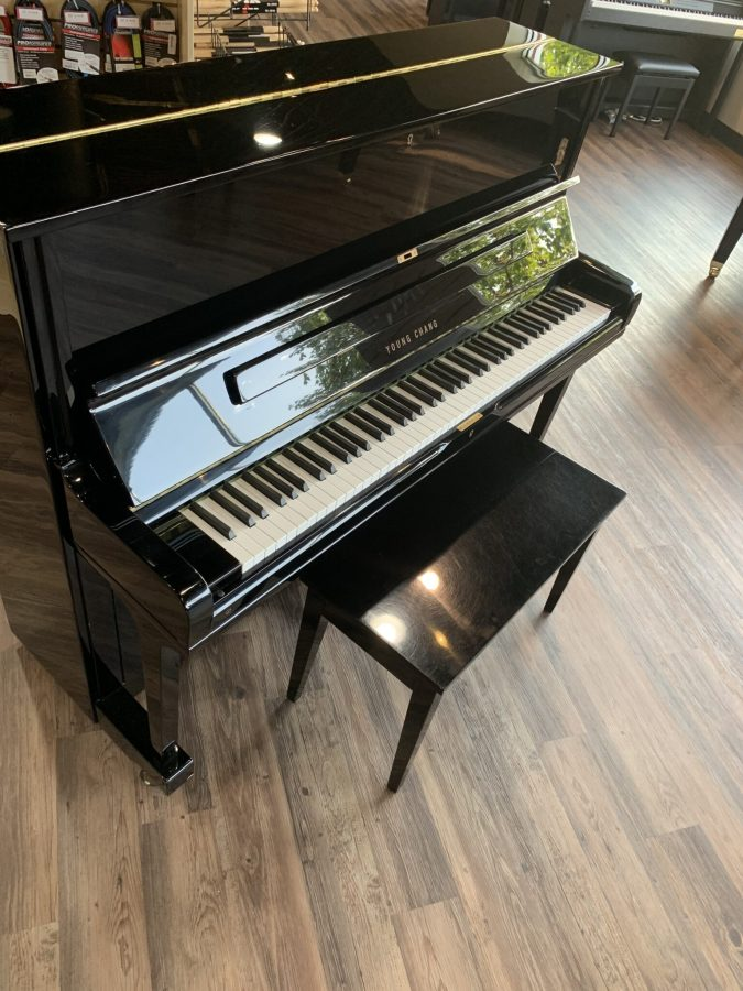 Young Chang 48 Inch Black Upright Side View
