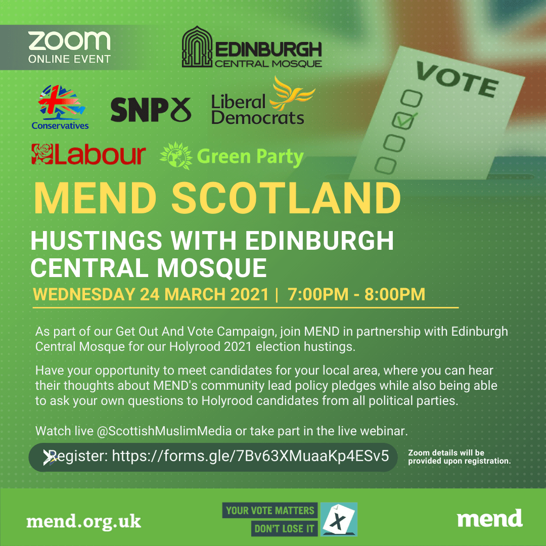 MEND Hustings with Edinburgh Central Mosque