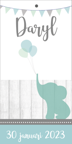 Label geboortekaartje met olifantje
