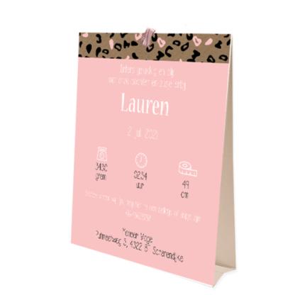 Geboortekaartje tentkaartje met luipaardprintje roze en wit voor meisje
