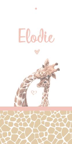 Label geboortekaartje met lieve meisjes giraff