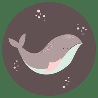 Wandcirkel/Wandsticker Walvis roze mint