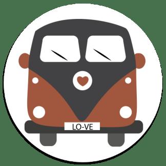 Wandcirkel/Wandsticker Bus in verschillende kleuren