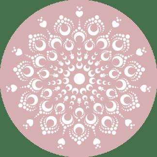 Wandcirkel/Wandsticker Mandala roze met hartjes