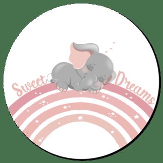 Wandcirkel/Wandsticker Olifantje slaapt