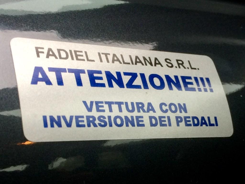 inversione pedale acceleratore Fadiel Meneghello