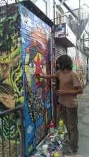 We saw this guy painting around in the brick lane area, using paintbrush instead of spraypaint